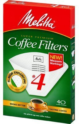 Melitta Cone Coffee Filters with Measure Markings No. 4 White 40 Count Pack of 2 (80 Filters Total) White Cone Coffee Filters