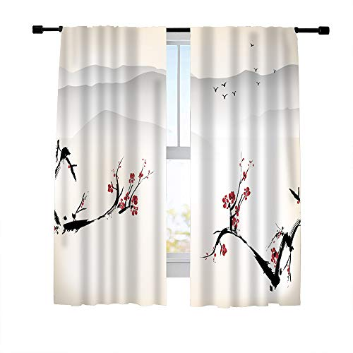 (Misscc Decorative Blackout Curtains Window Treatments Draperies for Living Room Bedroom Kitchen, Chinese Painting of Classical China Plum Blossom Pattern Print Window Curtains 42 x 63 Inch, 2)