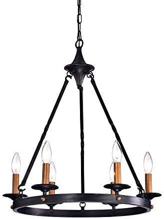 Edvivi 6-Light Antique Black Chandelier Industrial Style Ceiling Fixture