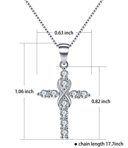 Platinum Polished Eternal Celtic Knot Cross Pendant Necklace Infinity Cross Necklace Sterling Silver Religious Jewelry Valentine's Day Gifts for Women Wife Girlfriend Girls Anniversary Gifts for Her