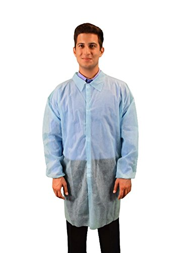 Keystone LC0-BE-NW-V-MED-BLUE Polypropylene Lab coat, No Pocket, Elastic Wrists, Velcro Front, Single Collar, Medium, Blue (Pack of 30)