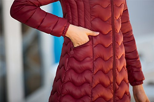 Vino Elegante Las Clásico Onda Rojo De de Patrón Calentar Mujeres Chaqueta Algodón De Abajo Delgado Abrigo Santimon Delgado FXUAxqawa