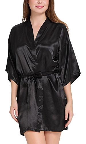 Womens Kimono Robes Satin Pure Colour Short Style with Oblique V-Neck Robe