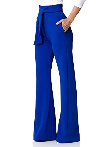 Lajiojio Women's Bellbottoms High Waisted Stretchy Straight Wide Leg Pants Trousers with Belt ()
