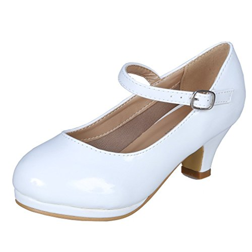 Heel Boy Shoes - Coshare Kid's Fashion Little Girl Pretty Party Dress Pumps White Patent 9 M US Toddler