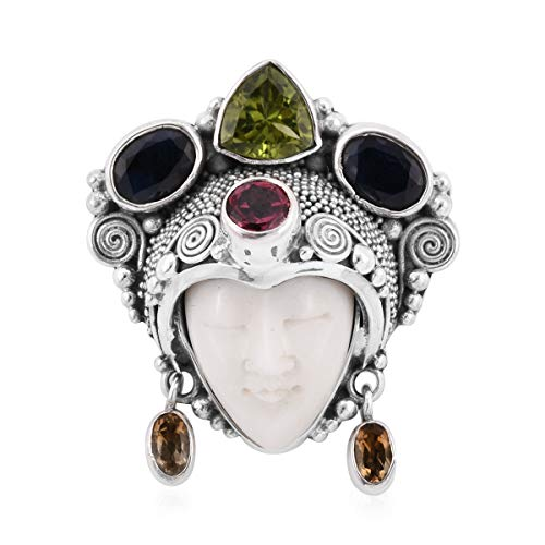 (925 Sterling Silver Carved Bone Peridot Blue Sapphire Pendant for Women)