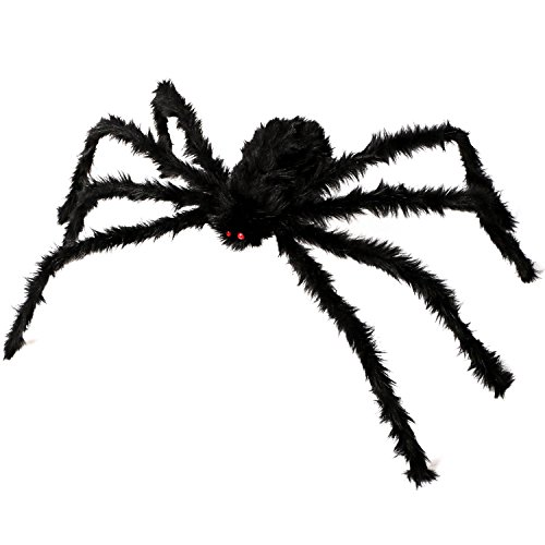 Kearui Halloween Decorations, Outdoor Indoor Halloween Spider Hairy Poseable Scary Spider Tarantula for Patio Yard Garden House Decorations, 4 ft / 125 cm]()