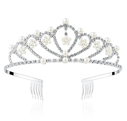 Lovely Shop Pearl Rhinestone Tiara with comb for Crystal Birthday Prinecess Crown -