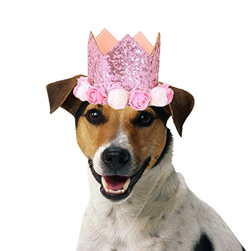 Lujuny Happy Large Dog Birthday Hat – Colorful Flower Crown Headband Cap for Halloween Costume Party Photoshoot (Pink) ()