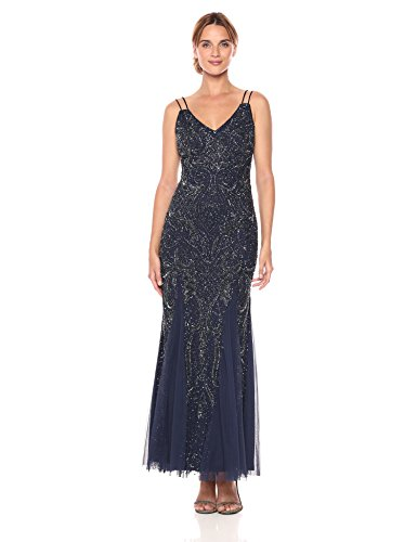 Aidan by Aidan Mattox Women's Halter Plunging Vneck Beaded Gown with Low Back, Twilight 12 ()