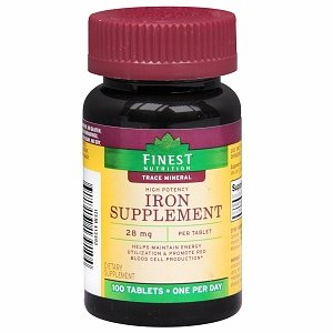 Finest Nutrition Iron Tablets 28mg 100 ea by AB