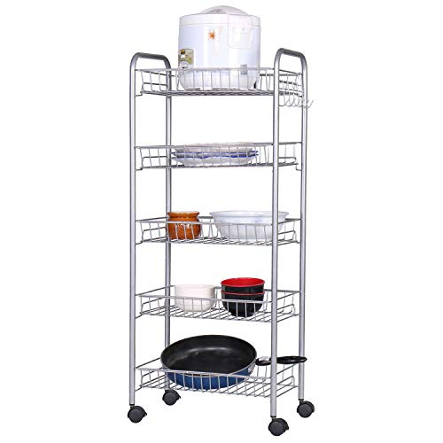 Cheap HOME BI 5-Tire Mesh Wire Rolling Cart on Wheels, Lockable Utility Cart Basket Stand with Removable Shelves and 6 Hooks for Kitchen Bathroom Closet Organizatio