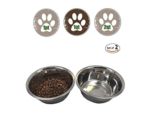 Top Dog Chews Stainless Steel Dog Bowl Set, Medium, 32oz/1-Quart, Two Bowls One (Oz 32 Dog Steel Stainless)