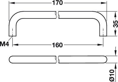 K/üchengriff Metall massiv Bogengriff M/öbelgriff 160 mm B/ügelgriff H/öhe 35 mm Modell GEOS10 Black M/öbelbeschl/äge von GedoTec/® Schubladengriff schwarz matt lackiert