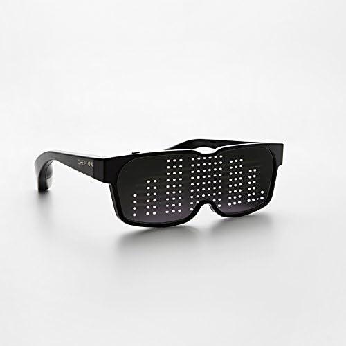 Duokon Vetro Ricaricabile Occhiali Luminosi a LED Neri Controllo App Occhiali Multicolore con Ricarica USB per Bar di Compleanno