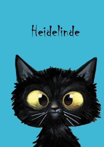 Heidelinde: Personalisiertes Notizbuch, DIN A5, 80 blanko Seiten mit kleiner Katze auf jeder rechten unteren Seite. Durch Vornamen auf dem Cover, eine Coverfinish. Über 2500 Namen bereits verf