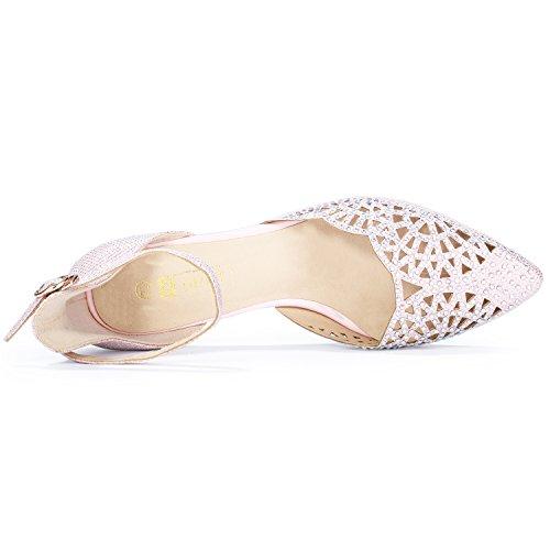 Pink Women's Wedding Sequins Rhinestones Pump Idifu Stiletto Candice Heels In2 Mid FqvvxAg