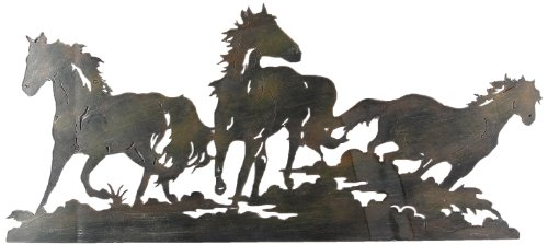 (Young's oung's Laser Cut Triple Horse Metal Wall Art)
