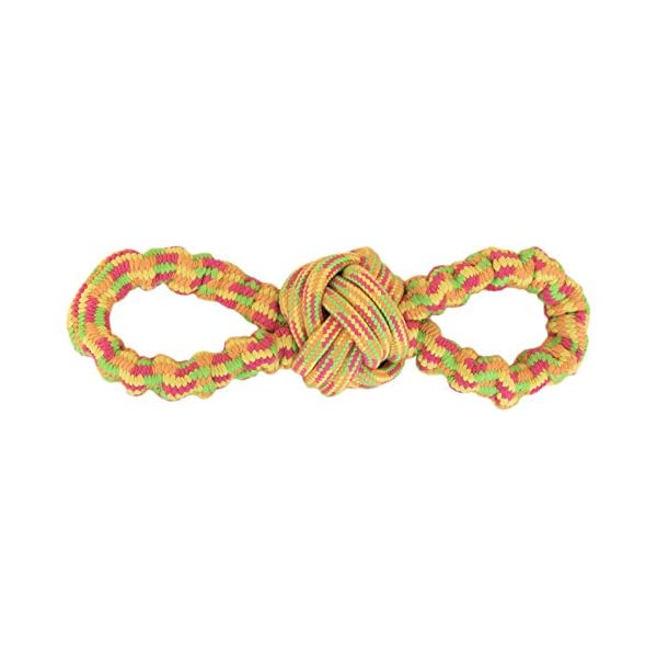 Pet Champion Interactive Stretchy Figure Eight Loop Dog Rope Toy Orange Medium 1