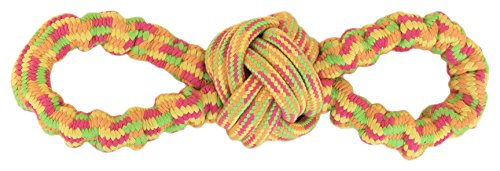 Pet Champion PTFG8ROPE Interactive Stretchy Figure Eight Loop Dog Rope Toy, Orange, Medium ()