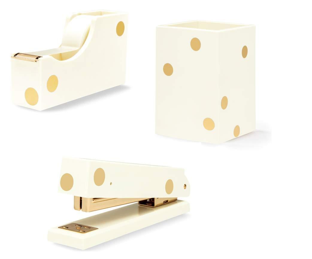 Kate Spade New York 3 Item Acrylic Desk Set Gold Dots | Stapler, Tape Dispenser, Pencil Holder by Kate Spade New York