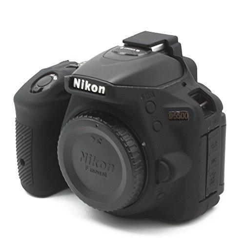 CEARI Silicone Protective Housing Camera Case Body Frame Shell Cover for Nikon D5500 DSLR Camera – Black