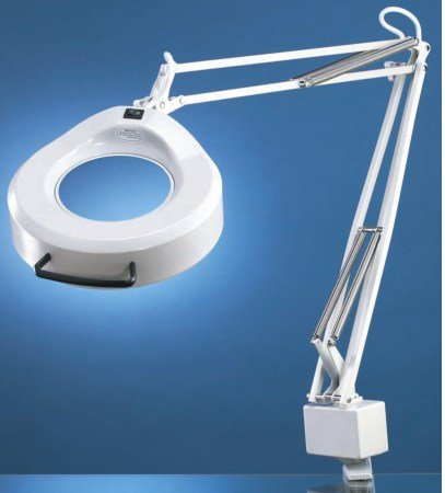 Luxo 16353LG IFM Magnifier, 30'' External Spring Arm, 5-Diopter, Weighted Base Mount, Light Grey by Luxo