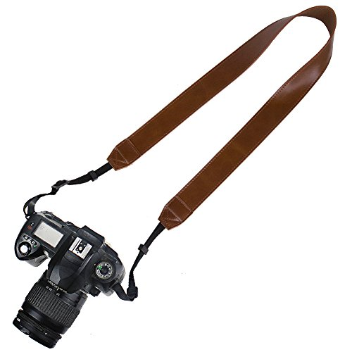 Elvam PU Leather Camera Neck Shoulder Belt Strap for DSLR / SLR / Nikon / Canon / Sony / Olympus / Samsung / Pentax ETC - Brown (Pentax Strap)