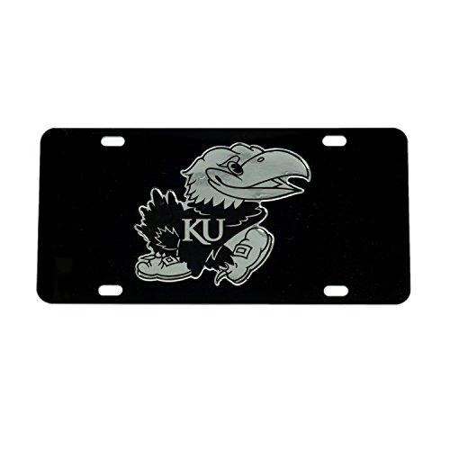 KU KANSAS Black JAYHAWK Mirrored License Plate Tag