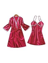 Chinashow Womens Satin Pajamas Set Sexy Ice Silk Suit Set Sleepwear/Nightwear Clothes, Wine Red #D
