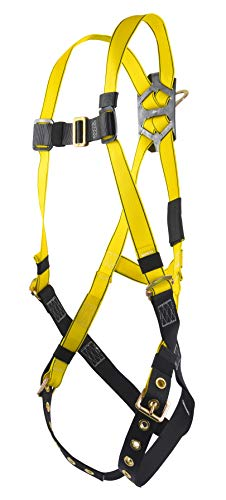 MSA 10072489 Workman Harness with Back D-ring, Tongue Buckle Leg Straps and Qwik-Fit Chest Strap, Super X-Large