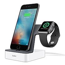 Belkin F8J200VFWHT - Base de carga PowerHouse para Apple Watch y iPhone (carga magnética, conector lightning ajustable para funda, 3,4 A de corriente, cable de 1,2 m), color blanco