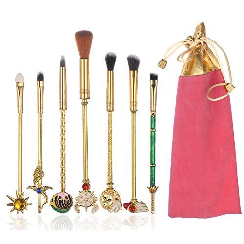 YINUO 8 Pcs Fashion Sailor Moon Sakura Makeup Brush Set with Pink Bag,Gold Alloy Handle Foundation Powder Flat Eyeline Blush Brushes Set for Women Girls Birthday Gift (Sakura)