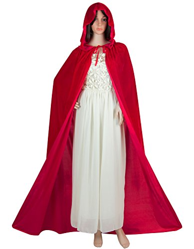 Acecharming Women's Velvet Hooded Cloak Full Length Cloak Witch Costume for Halloween Christmas Party Cosplay Red ()