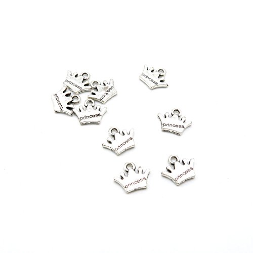 60 Pieces Antique Silver Tone Jewelry Making Charms A8WG4 Princess Crown Pendant Ancient Findings Craft Supplies Bulk Lots -