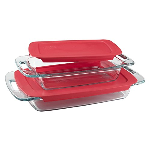 Glass Casserole Lid - Pyrex Easy Grab 4-Piece Value Pack, includes 1-ea 3-qt Oblong, 2-qtOblong, Red Plastic Covers