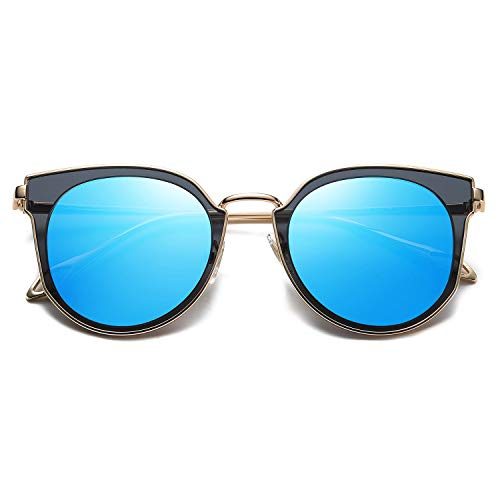 SOJOS Fashion Round Polarized Sunglasses for Women UV400 Mirrored Lens SJ1057 with Gold Frame/Blue Mirrored Lens