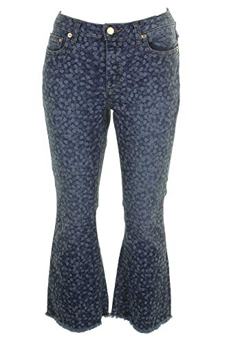 (Michael Michael Kors Petite Blue Printed Button-Fly Cropped Flare-Leg Jeans P)