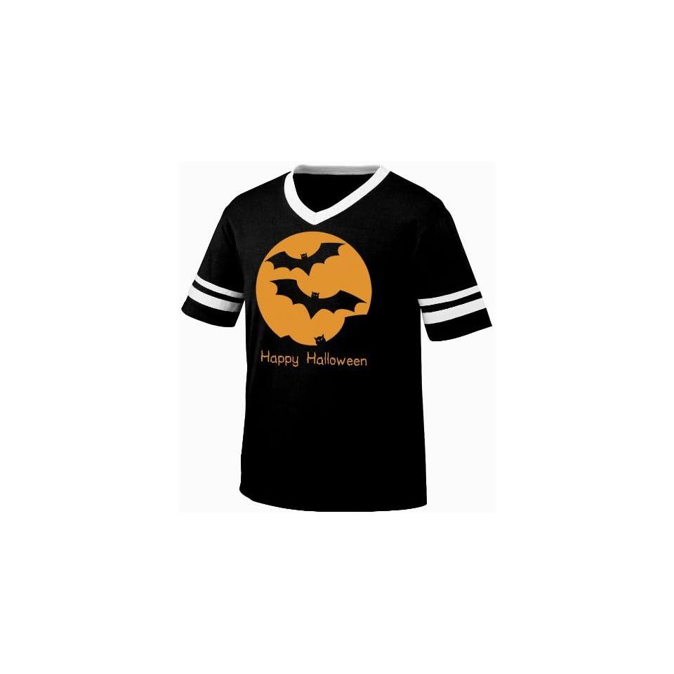 Happy Halloween Flying Bats Full Moon Mens Ringer T shirt, Cheap Easy Halloween Shirt Bats Silhouette Men's Ringer Shirt Clothing