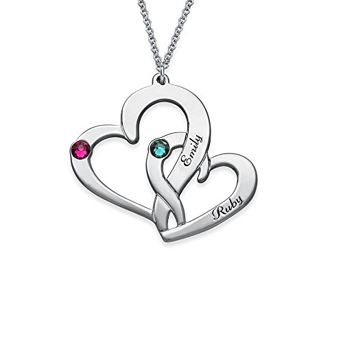 (925 SilverTwo Heart Engraved Necklace with CZ Birthstones - Personalized & Custom Made Pendant)