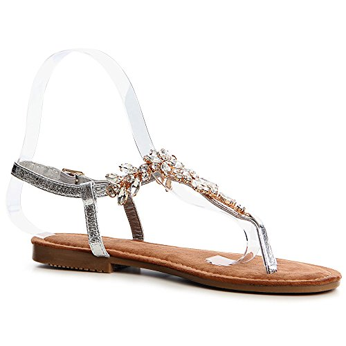 Femmes Argent Sandalettes topschuhe24 Sparkle Sandales CXRwc1Icqd