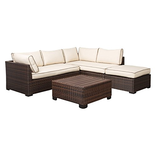 LLC All-Weather Outdoor 4-Piece Wicker Patio Conversation Set in Brown with Fabric Cushions in Beige, Made from Strong Rust-Free Aluminum Frame with Wicker, Enjoy The Sunny Days (Reversible All Weather Chaise Cushion)
