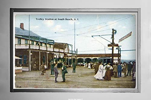 Trolley Station at South Beach, Staten Island people in old garb standing on boardwalk by the electric car, buildings and hotel on side and background, Postcard|Size: 7x12|Ready to Frame ()