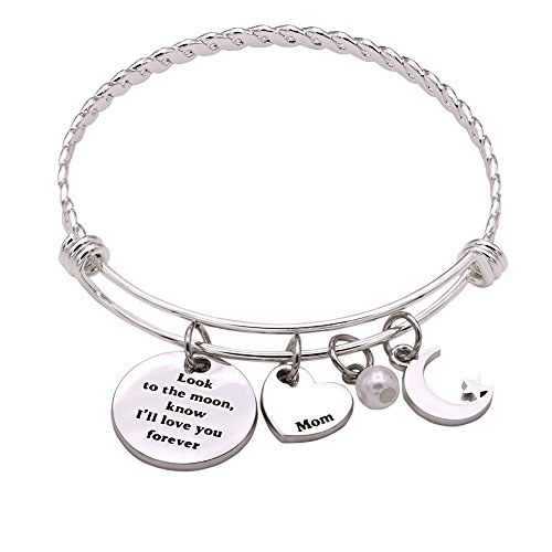 Melix Home Look the moom Know I'll Love you Forever Bangle Mothers Day Gift From Daughter (Amd Professional Motherboard)