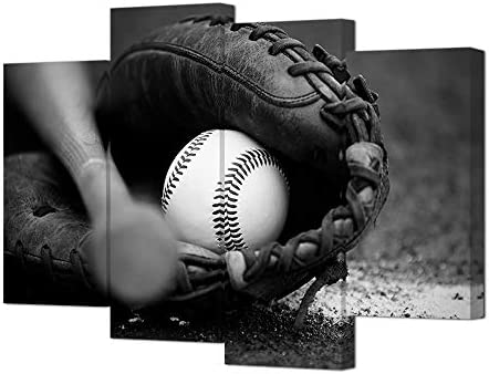 HOMEOART Baseball Wall Art Sports Themed Painting Pictures Canvas Prints Boys Bedroom Decoration Black and White Stretched Framed Artwork 4 Panel