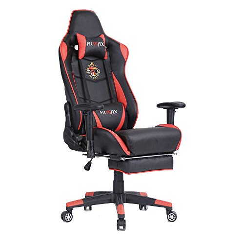 Ficmax Large Size Executive Racing Style Computer Gaming Chair with Lumbar Massage Support and Retractible Footrest - - Chair Style Massage
