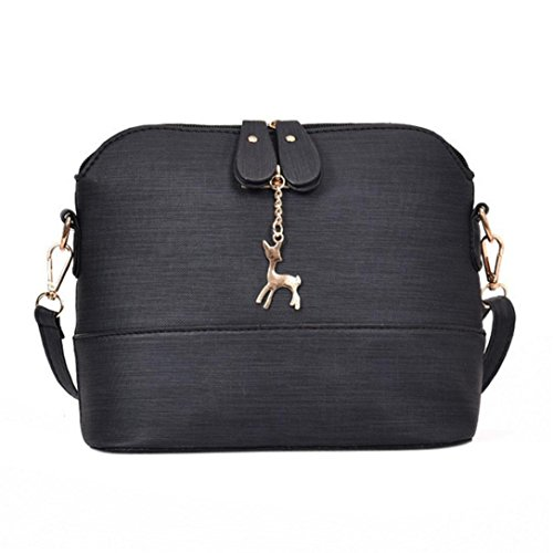 FitfulVan Clearance! Hot sale! Bags, FitfulVan New Women Messenger Bags Vintage Small Shell Leather Handbag Casual Packet (Black)