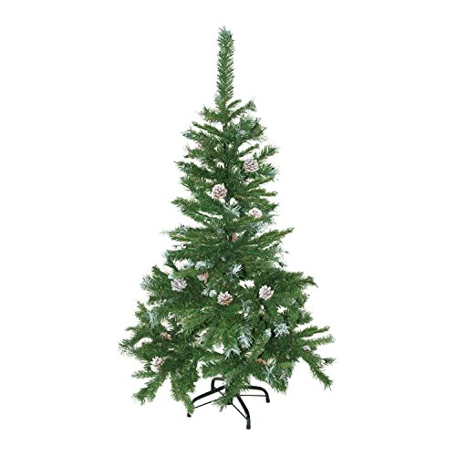 (ALEKO CT48H11 Artificial Holiday Christmas Tree Snow Dusted Premium Pine with Stand and Pine Cones 4 Foot Green and White)