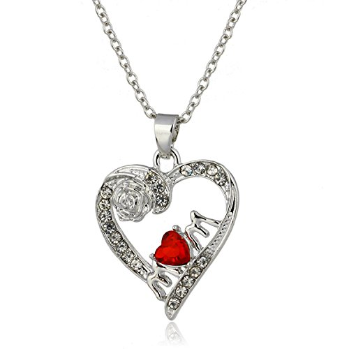 Linsh Rose Crystal Love Red Heart Mom Pendant Necklace Fashion Jewelry for Women Color Silver