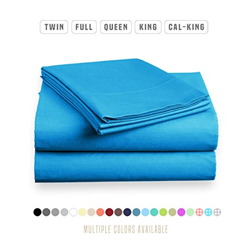 Luxe Bedding Sets - Microfiber Twin Sheet Set 3 Piece Bed Sheets, Deep Pocket Fitted Sheet, Flat Sheet, Pillow Case Twin Size - Blue